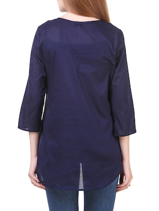navy blue casual cotton top - 14531861 - Standard Image - 3