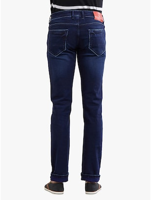 navy blue cotton washed jeans - 14536523 - Standard Image - 3