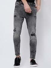 black cotton ripped  jeans -  online shopping for Jeans