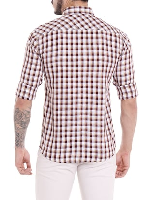 brown cotton casual shirt - 14537503 - Standard Image - 3