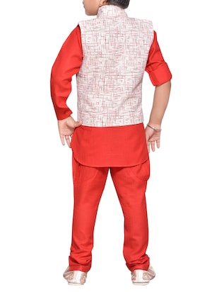 red cotton blend kurta set - 14537655 - Standard Image - 3