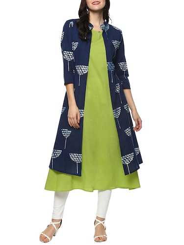 blue cotton layered kurta - 14539721 - Standard Image - 1
