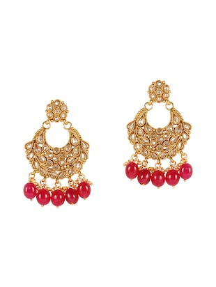 Pink Gold Tone Necklace, Earrings & Maangteeka Set - 14539806 - Standard Image - 3
