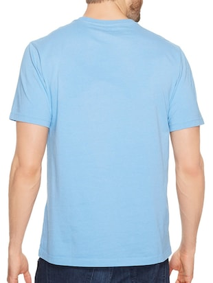 blue cotton chest print tshirt - 14540366 - Standard Image - 3