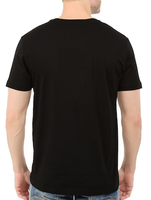 black cotton chest print t-shirt - 14540370 - Standard Image - 3