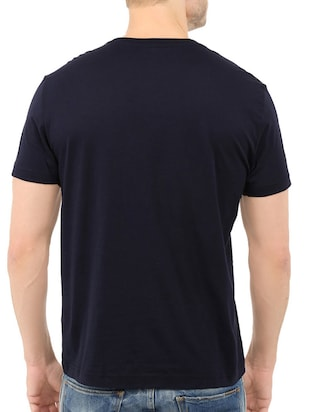 navy blue cotton front print t-shirt - 14540373 - Standard Image - 3