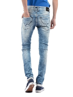 blue cotton washed jeans - 14542113 - Standard Image - 3