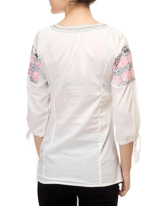 white printed tunic - 14543137 - Standard Image - 3