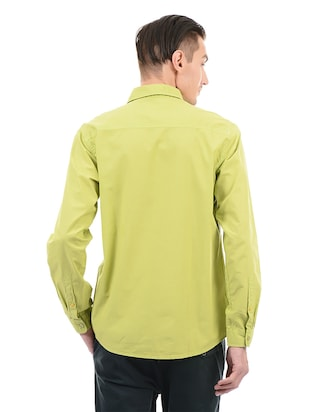 green cotton casual shirt - 14543258 - Standard Image - 3