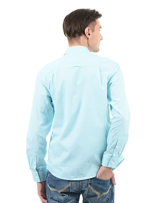 blue cotton casual shirt - 14543278 - Standard Image - 3