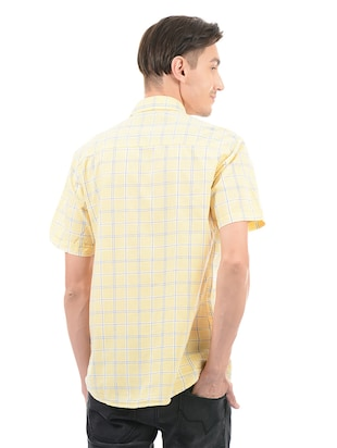 yellow cotton blend casual shirt - 14543291 - Standard Image - 3