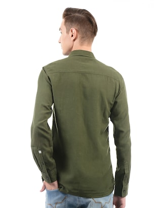 green cotton casual shirt - 14543322 - Standard Image - 3