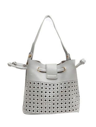 grey leatherette regular handbag - 14543737 - Standard Image - 3