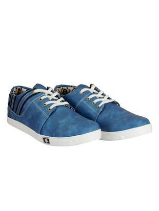 blue leatherette lace up sneaker - 14543740 - Standard Image - 3