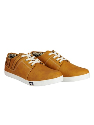tan leatherette lace up sneaker - 14543742 - Standard Image - 3
