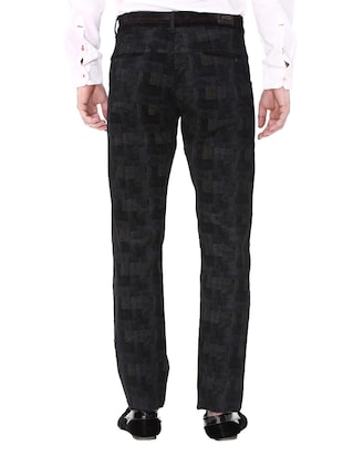 black cotton corduroy casual trousers - 14543922 - Standard Image - 3
