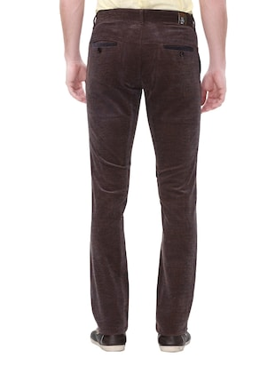 brown cotton corduroy casual trousers - 14543943 - Standard Image - 3