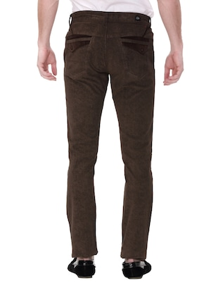 brown cotton corduroy casual trousers - 14543954 - Standard Image - 3