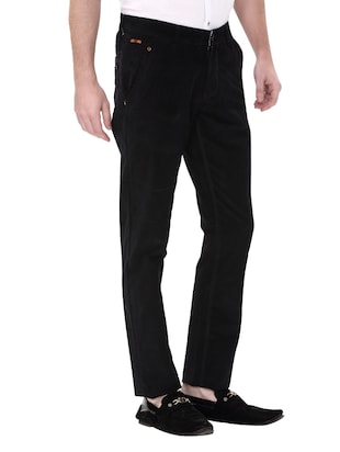 black cotton corduroy casual trousers - 14543991 - Standard Image - 3