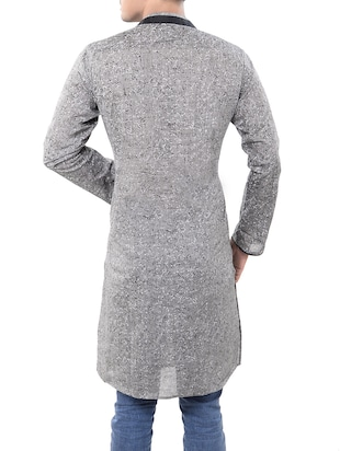 grey cotton long  kurta - 14544000 - Standard Image - 3