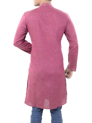 pink cotton long  kurta - 14544005 - Standard Image - 3