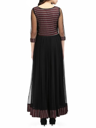black net printed gown dress - 14544046 - Standard Image - 3