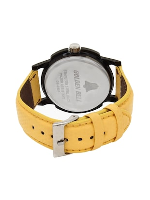 Golden Bell Original Black Dial Yellow Leather Strap Analog Wrist Watch for Men - GB-448 - 14544069 - Standard Image - 3