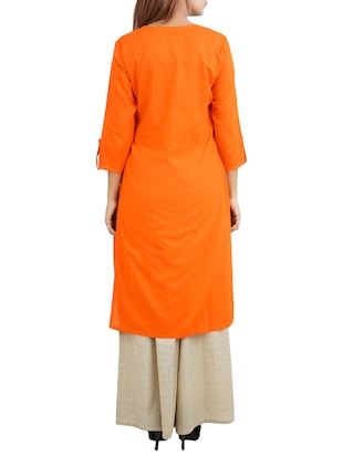 orange cotton high slit kurta - 14544261 - Standard Image - 3