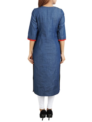 blue cotton straight kurta - 14544364 - Standard Image - 3