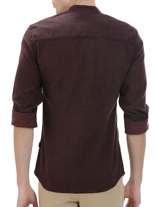 brown cotton casual shirt - 14545685 - Standard Image - 3