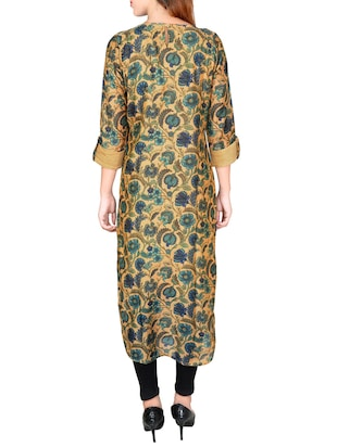 multicolored chanderi straight kurta - 14545961 - Standard Image - 3