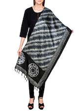 Black Poly Silk Tie & Dye Dupatta - By