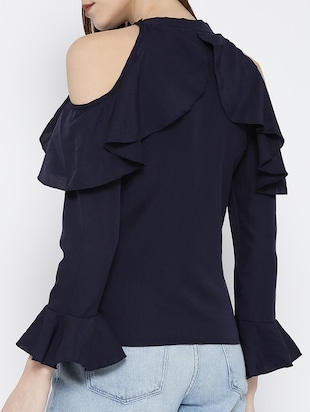 navy blue ruffled top - 14547761 - Standard Image - 3