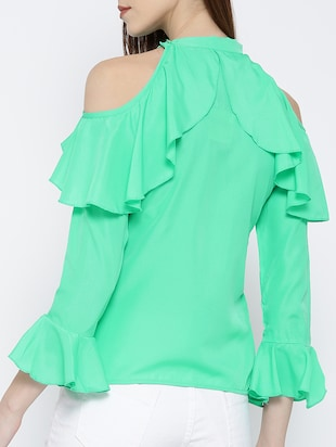green ruffled top - 14547765 - Standard Image - 3