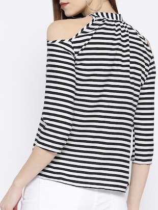 pleated neck striped top - 14547770 - Standard Image - 3
