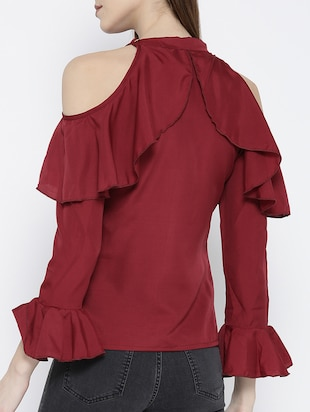 cold shoulder bell sleeved ruffle top - 14547787 - Standard Image - 3
