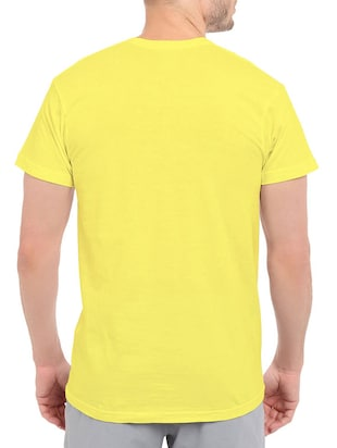 yellow cotton chest print tshirt - 14547903 - Standard Image - 3