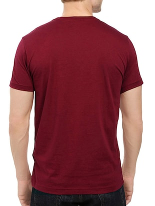 maroon cotton chest print tshirt - 14548094 - Standard Image - 3