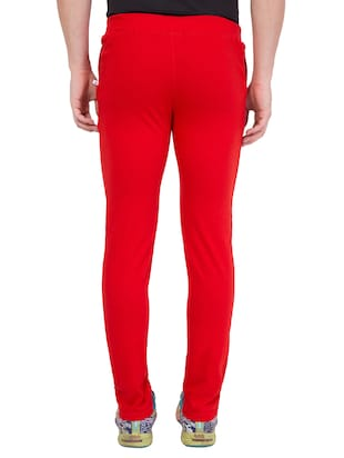 red cotton  full length track pant - 14549634 - Standard Image - 3