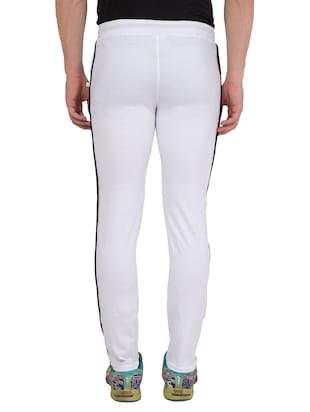 white cotton  full length track pant - 14549639 - Standard Image - 3