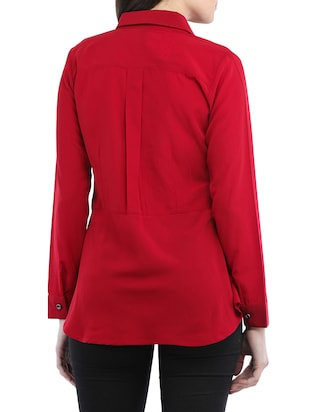 solid red viscose shirt - 14554244 - Standard Image - 3