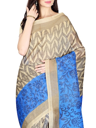 beige & blue printed saree with blouse - 14555249 - Standard Image - 3