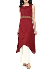 maroon rayon asymmetric kurta -  online shopping for kurtas