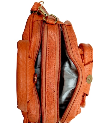orange leatherette regular sling bag - 14559954 - Standard Image - 3