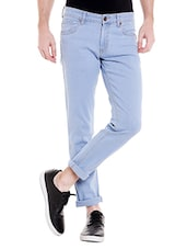 light blue cotton blend plain jeans -  online shopping for Jeans
