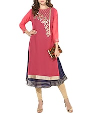 Pink Color Round Neck  Georgette Layered Kurta - By