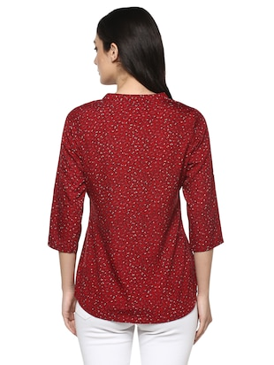 floral band collar top - 14618612 - Standard Image - 3