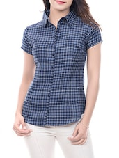 Amadore blue cotton check shirt -  online shopping for Shirts