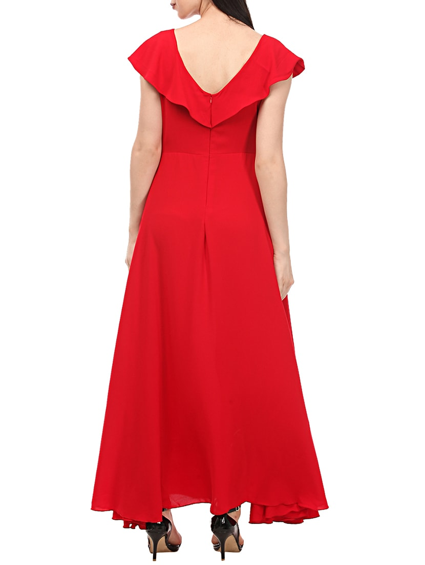 97d3c07fbc Buy Ruffled Boat Neck Gown Dress by Lady Stark - Online shopping for ...