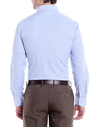 blue cotton formal shirt - 14666389 - Standard Image - 3